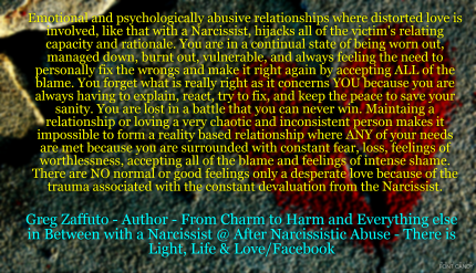 A Narcissist's love is a distorted and desperate love that erases
