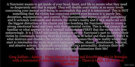 Gaslighting – the tool the Narcissist uses to drive you to
