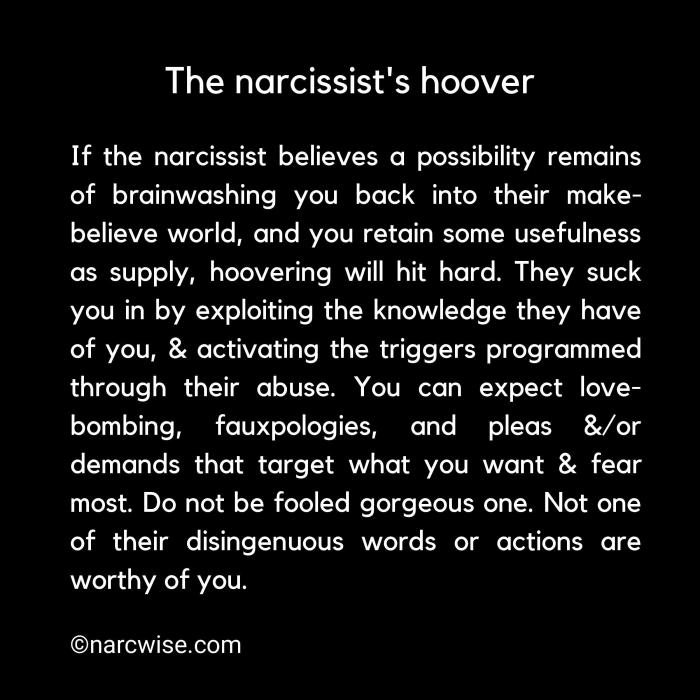 The Narcissist will ALWAYS manipulate and throw a pathological spin with their communication to divert reality and cause chaos, so it fulfills whatever the Narcissist's agenda is at the moment. This agenda is many things, but basically to secure supply and to even RECYCLE OLD SUPPLY with hoovering!