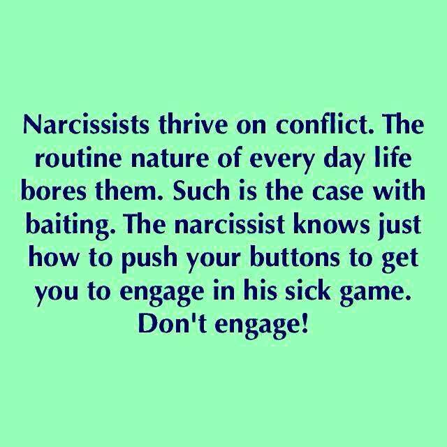 """We can't engage with their chaos and conflict because they are aimed directly at diminishing us and managing us down to SUPPORT their agenda! Narcissists are masters of spin and diversionary tactics to drive their """"conflicted reality"""" home through brute verbal force, emotional dismissiveness, psychological games, and delusional reasoning. If you're involved with a Narcissist, you know these communication strategies firsthand."""