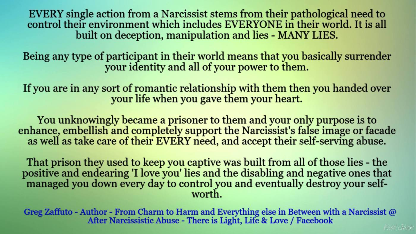 You have to actualize that EVERYTHING IS A LIE with a Narcissist. Not almost everything, but EVERYTHING from 'I love you' to 'I hate you, you are mentally ill, your friends, hate you, my family hates you, the world hates you, you are worthless, nobody will ever love you, etc.!'